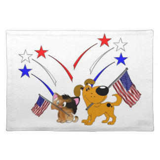 Bandera americana y fuegos artificiales manteles individuales