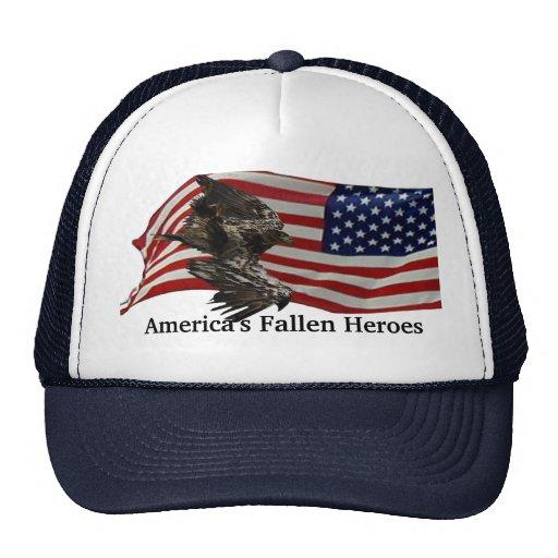 Bandera americana y gorras de Eagle