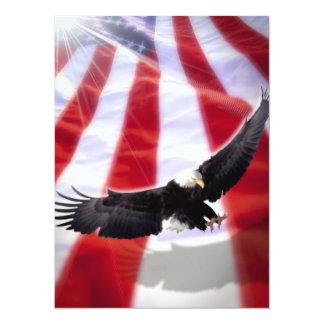 Bandera americana y invitación de Eagle Invitación 13,9 X 19,0 Cm