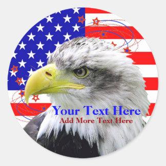 Bandera americana y pegatinas de Eagle Etiquetas Redondas