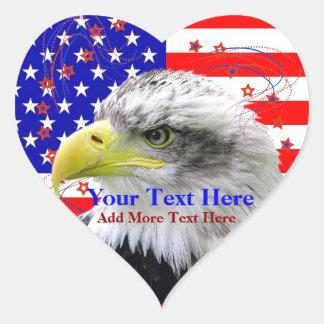 Bandera americana y pegatinas del corazón de Eagle Pegatinas Corazon Personalizadas