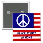 Bandera americana y signo de la paz chapa cuadrada 5 cm