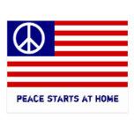 Bandera americana y signo de la paz postal