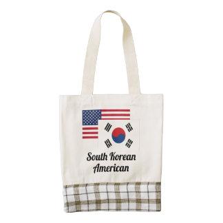 Bandera americana y surcoreana bolsa tote zazzle HEART
