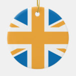 Bandera anaranjada azul de Sharpe Union Jack Adorno Para Reyes