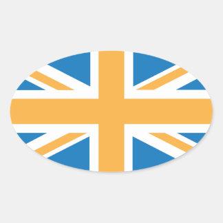 Bandera anaranjada azul de Sharpe Union Jack Calcomania De Óval Personalizadas