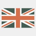 Bandera anaranjada de Union Jack Británicos (Reino Rectangular Pegatina