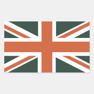 Bandera anaranjada de Union Jack Británicos (Reino Pegatina Rectangular