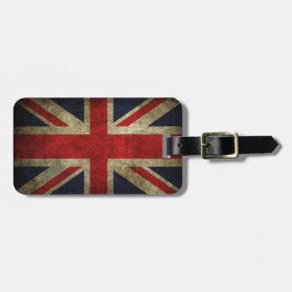 Bandera antigua real británica de Union Jack Etiquetas Bolsa