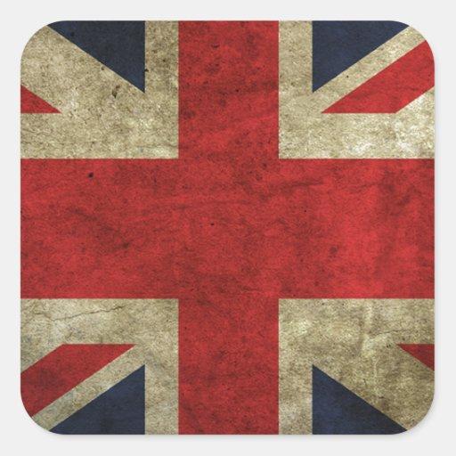 Bandera antigua real británica de Union Jack Pegatina Cuadradas