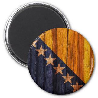 Bandera apenada de Bosnia y Hercegovina Imán Redondo 5 Cm