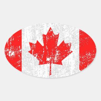 Bandera apenada de Canadá Pegatinas Ovales