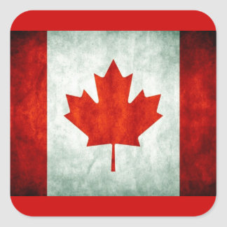 Bandera apenada de Canadá Pegatina Cuadrada