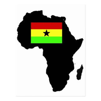 Bandera apenada de Ghanian y silueta africana Tarjetas Postales
