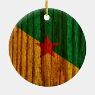Bandera apenada de la Guayana Francesa Adorno Redondo De Cerámica