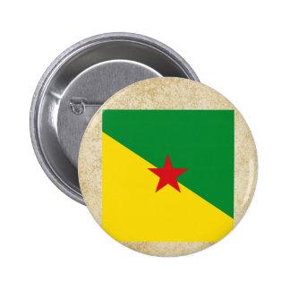 Bandera apenada de la Guayana Francesa Pin Redondo 5 Cm