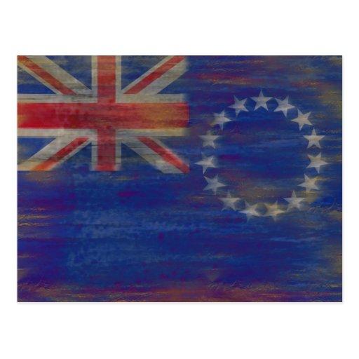 Bandera apenada de las islas de cocinero postal