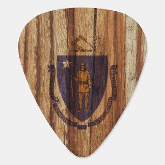 Bandera apenada de Massachusetts Plumilla De Guitarra
