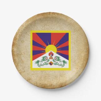 Bandera apenada de Tíbet Plato De Papel De 7 Pulgadas