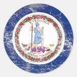 Bandera apenada del estado de Virginia Pegatina Redonda