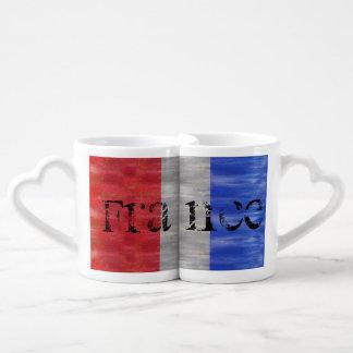 Bandera apenada francés - Francia Tazas Para Parejas