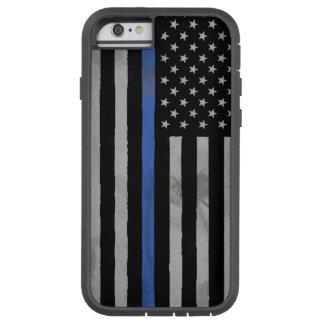 Bandera apenada hecha andrajos Blue Line fina Funda De iPhone 6 Tough Xtreme