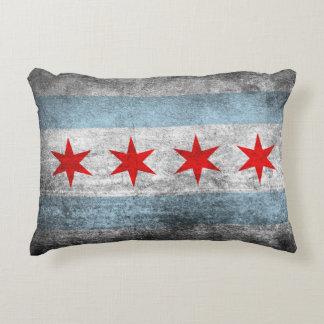 Bandera apenada retra de Chicago Cojín Decorativo