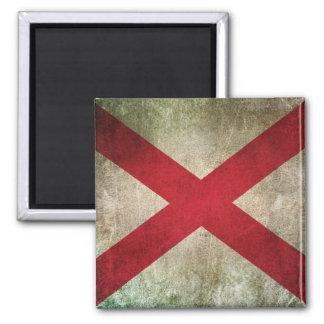 Bandera apenada vintage de Alabama Imán Cuadrado