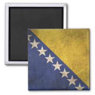 Bandera apenada vintage de Bosnia y Hercegovina Imán Cuadrado