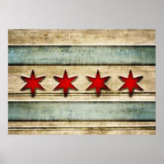 Bandera apenada vintage de Chicago Póster