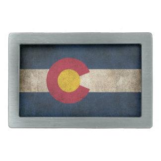 Bandera apenada vintage de Colorado Hebillas De Cinturon Rectangulares