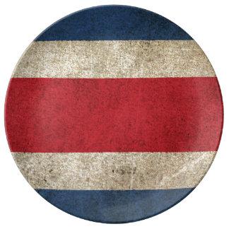 Bandera apenada vintage de Costa Rica Plato De Cerámica