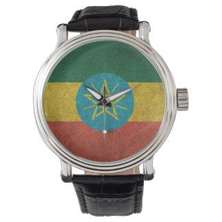 Bandera apenada vintage de Etiopía Relojes De Pulsera