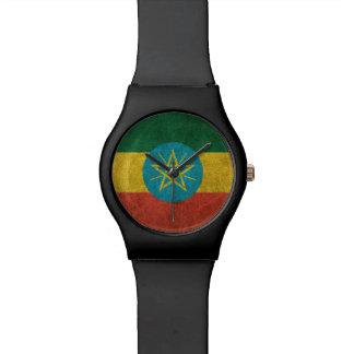 Bandera apenada vintage de Etiopía Relojes De Mano