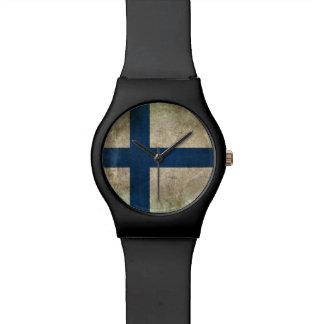 Bandera apenada vintage de Finlandia Relojes De Mano