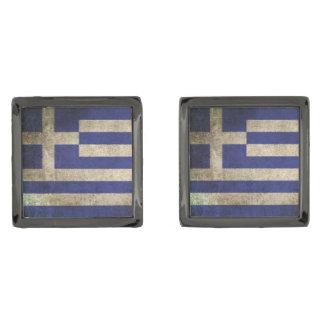 Bandera apenada vintage de Grecia Gemelos Metalizados
