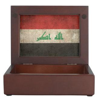 Bandera apenada vintage de Iraq Caja De Recuerdos