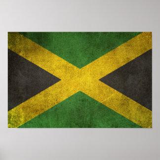 Bandera apenada vintage de Jamaica Póster