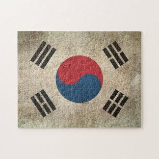 Bandera apenada vintage de la Corea del Sur Rompecabeza