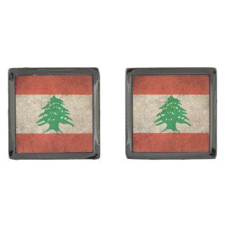 Bandera apenada vintage de Líbano Gemelos Metalizados