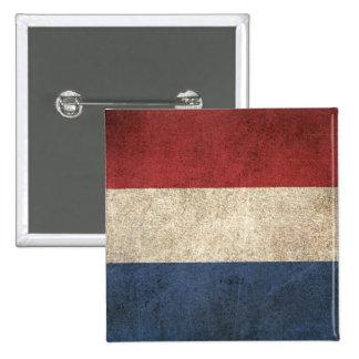 Bandera apenada vintage de los Países Bajos Pin Cuadrado