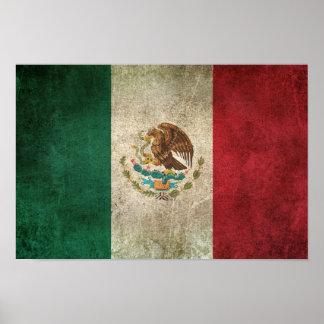 Bandera apenada vintage de México Póster
