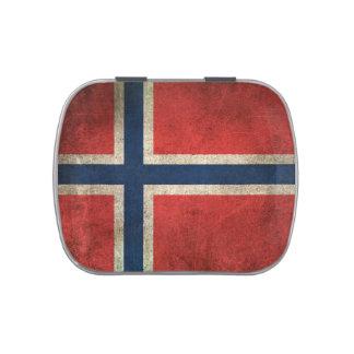 Bandera apenada vintage de Noruega Latas De Caramelos