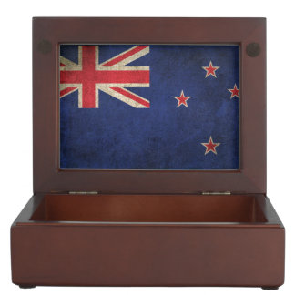 Bandera apenada vintage de Nueva Zelanda Caja De Recuerdos