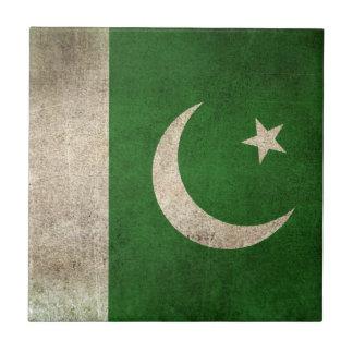 Bandera apenada vintage de Paquistán Azulejo Cuadrado Pequeño