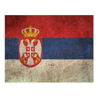 Bandera apenada vintage de Serbia Tarjetas Postales