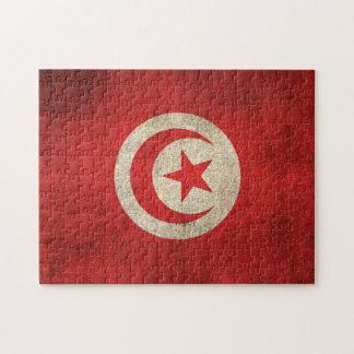 Bandera apenada vintage de Túnez Puzzles Con Fotos