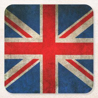 Bandera apenada vintage de Union Jack Del Reino Posavasos Desechable Cuadrado