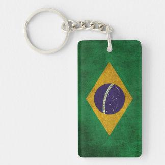 Bandera apenada vintage del Brasil Llavero Rectangular Acrílico A Doble Cara
