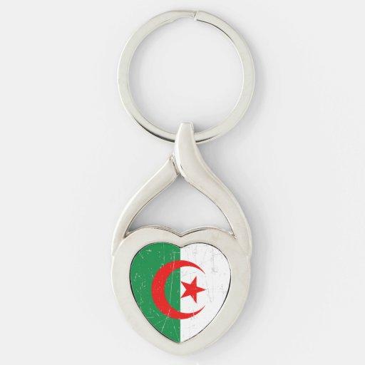 Bandera argelina rascada y rasguñada llaveros